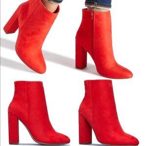 Orange Heeled Ankle Boots